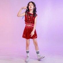 Childrens Jazz Costumes Girls Sequined Navel Show Cool Dancing Dress Hip-hop Suit Summer