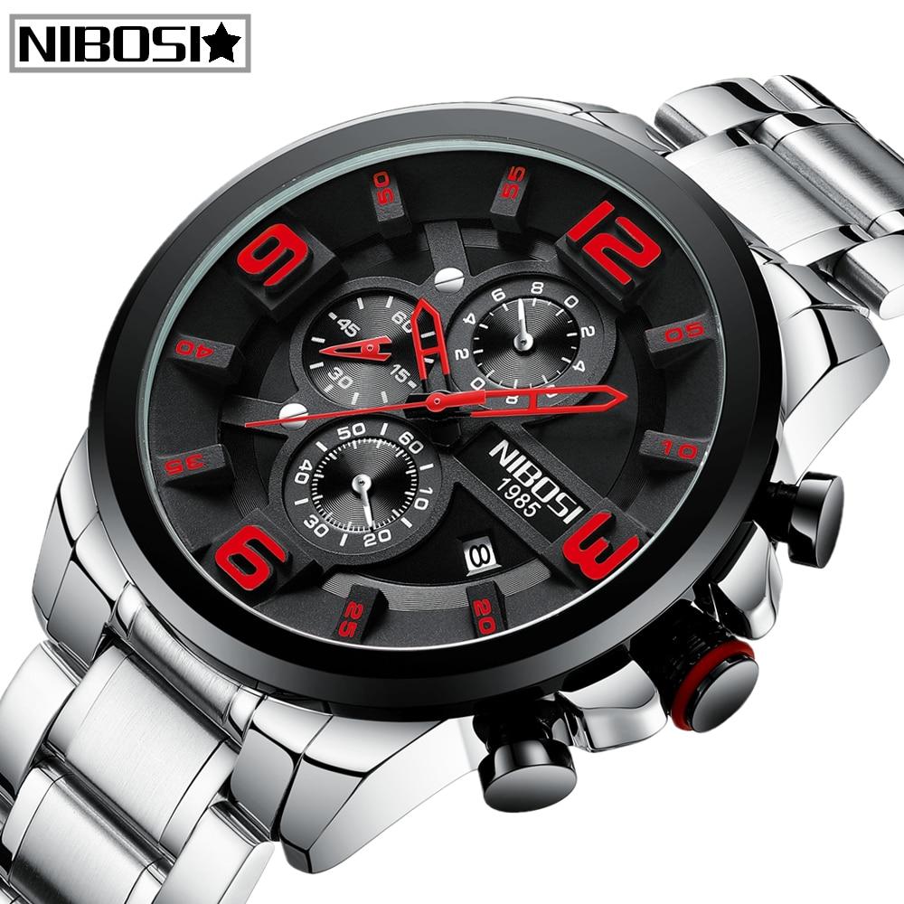 Fashion Relogio Masculino NIBOSI Mens Watches Top Brand Luxury Sport Quartz Watch Men Full Steel Waterproof Business Men Watch