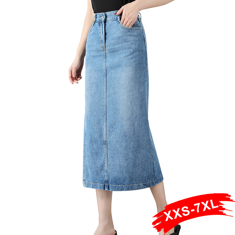 Plus Size Side Split Elastic High Waist Straight Denim Skirts 6Xl 7Xl Spring Summer Office Lady Mid-Calf Length Skirt Mom Jeans