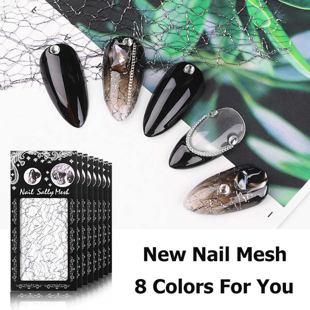 1PC Mesh Nail Stickers Netto Lijn Manicure Accessoires 3D Nail Art Tips Manicure Decal DIY Ontwerp Holografische Nail Decoratie