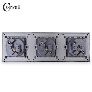 Image 5 - COSWALL קיר זכוכית קריסטל לוח 3 כנופיית כוח שקע תקע מעוגן 16A האירופי תקן חשמל לשקע משולש לבן שחור אפור