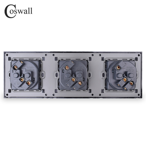 Image 5 - COSWALL Wall Crystal Glass Panel 3 Gang Power Socket Plug Grounded 16A EU Standard Electrical Triple Outlet White Black Grey