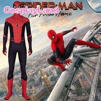 Spider Man Far From Home Cosplay Costume Spiderman Men's Zentai Suit Halloween Superhero Jumpsuit Costumes Customized