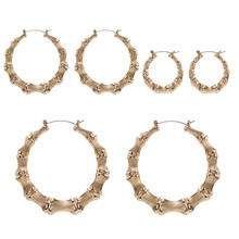 Big hip hop bamboo hoop earrings punk gold plate hot sale circle for women new 2020 fashion