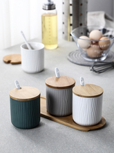 Ceramic Spice Jar Bamboo Lid with Spoon Serving Wooden Tray Sugar Pot Container Salt Pepper Set  Porcelain Condiment Jar Kitchen цена 2017