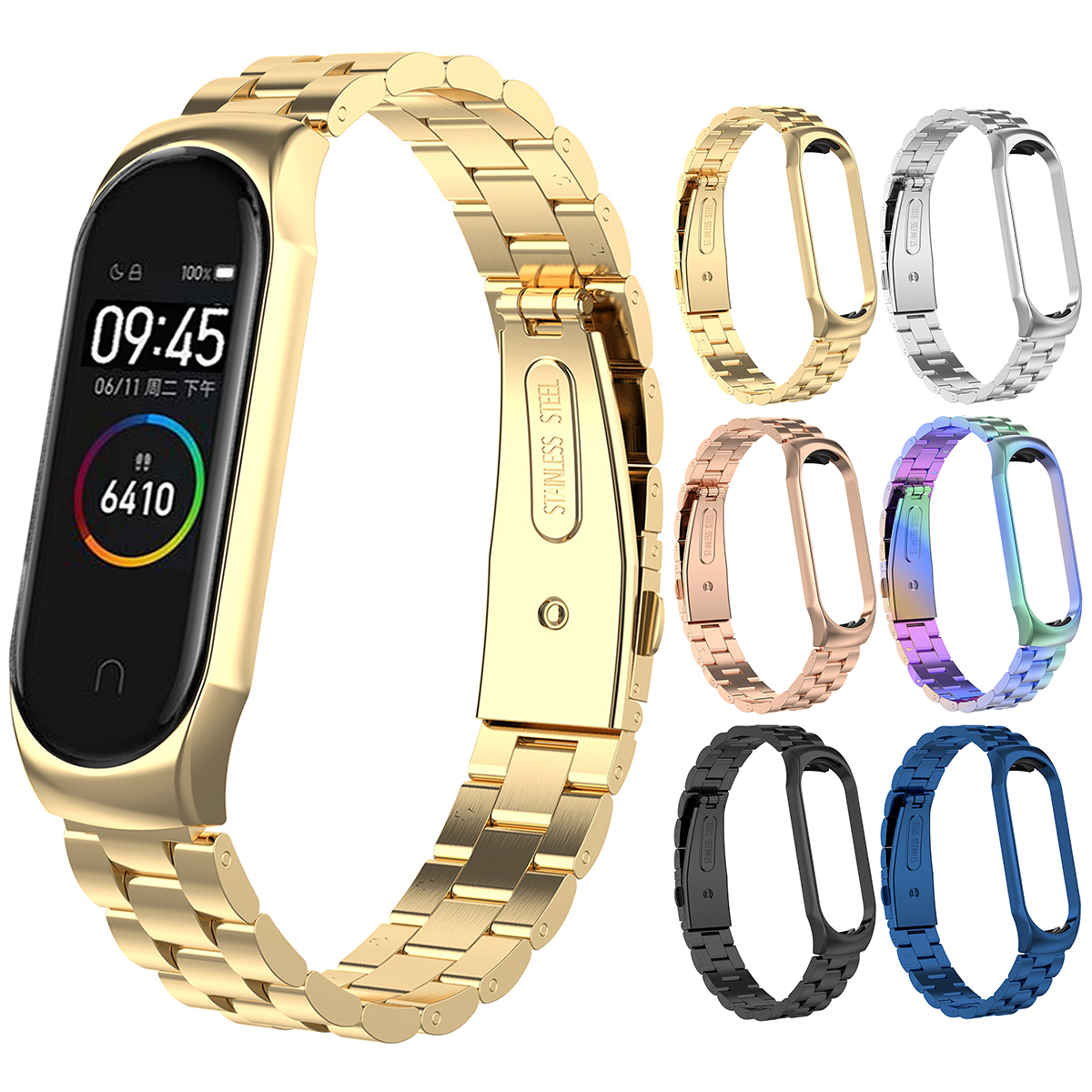 Luxury Metal Bands Business Stylish Straps Stainless Steel Bracelet Watch Band Wrist Strap With Frame For Xiaomi MI Band 4/3