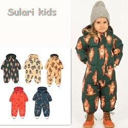 Pagliaccetto del bambino vestiti del bambino di inverno pudcoco del bambino della ragazza del bambino della ragazza del pagliaccetto piccolo cotone pigiama boutique tuta da neve