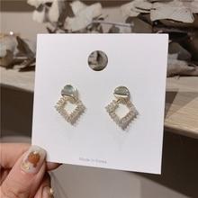 MENGJIQIAO New Korean Elegant Shiny Zircon Metal Square Drop Earrings For Women Fashion Sweet Boucle D'oreille Girls Gifts