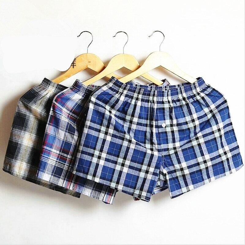 3pcs/lot Plaid Mens Boxer Shorts Men Underwear Cotton Boxers Home Underwear Male Family Loose Shorts Large Men's Loose Panties