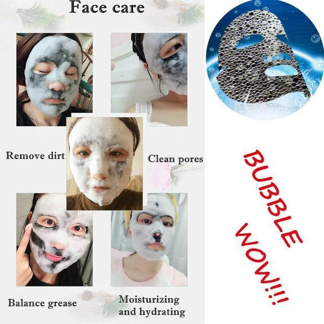 Korean Cosmetic Detox Oxygen Bubble Sheet Mask Moisturizing Black Whitening Charcoal Skin Face Mask Care Bamboo B1Q6 3