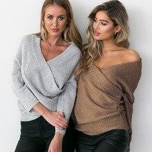 Women Sweater Knitted Deep V Neck Long Sleeve High Street Loose Sweaters Pullover Jumper Autumn Winter Mujer Jumper v neck zipper choker jumper