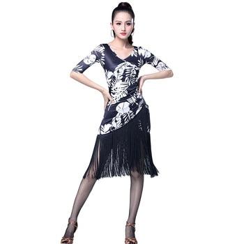 Women Sexy Mid Long Sleeve Printing Latin Dance Training Tassel Clothing Ballroom Dress Tango Modern Rumba Performance Dancewear 2