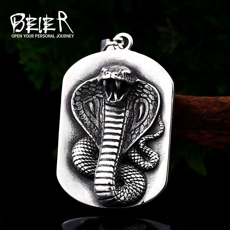 Beier punk aço inoxidável animal pingente colar com cobra gargantilha charme instrução escudo jóias para o homem lhp106