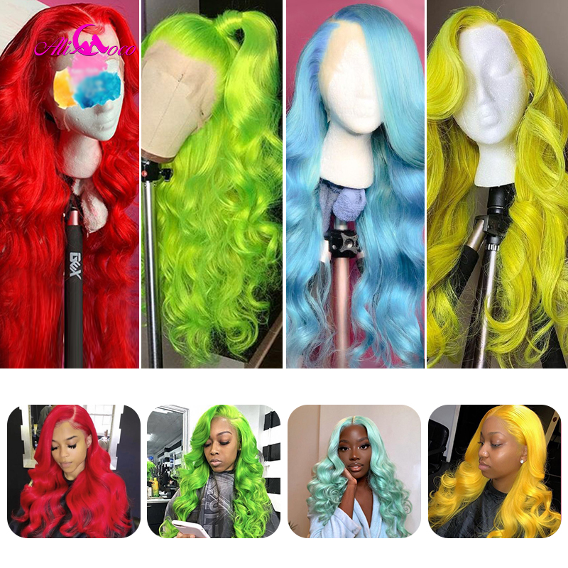 ALI Coco 150% Pink Human Hair Wig Brazilian Remy Body Wave Lace Front Wig Green Red Light Blue Purple Ombre 613 Wigs For Women