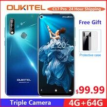 OUKITEL C17 Pro 6.35'' Android 9.0 19:9 MT6763 4GB 64GB Smartphone Face ID Octa Core 3900mAh Triple