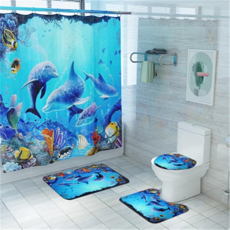 Bathroom Mat Set Anti Slip Dolphin Fish, Fish Bathroom Sets
