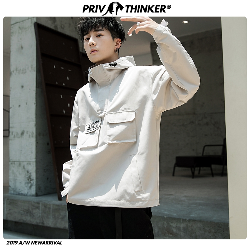 Privathinker 2020 Men Autumn Fashion Hooded Jackets Mens Hip Hop Casual Streetwear Jackets Male Oversize Safari Style Clothes
