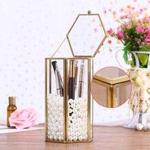 Caja de almacenamiento pincel cosmético de diamantes de imitación soporte de pluma contenedor de Peine decoración de escritorio
