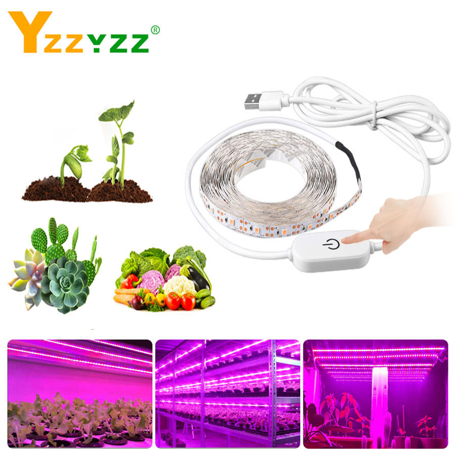 2835SMD USB Touch Sensor Dimmable Full Spectrum Grow Light LED Strip LED Phyto Lamp For Greenhouse Hydroponic Plant Growing Lamp