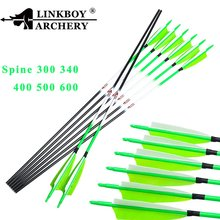Linkboy Archery Green Carbon Hunting Arrows 5inch Turkey Feather 75gr Points Compound Recurve Bow Longbow Shooting 12pcs