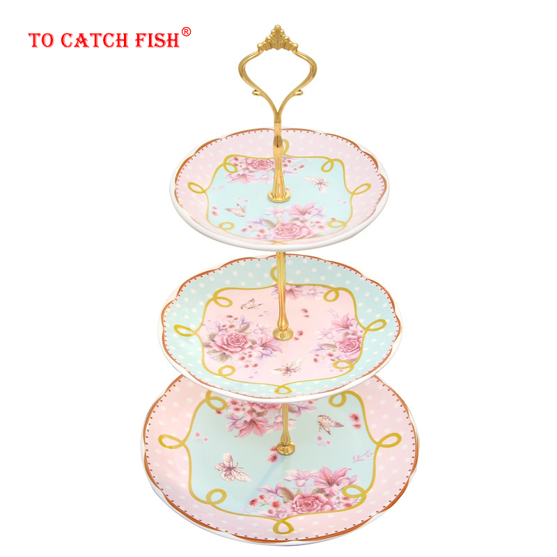 European-style Ceramic Three-layer Fruit Plate Blue Living Room Creative Cake Rack  Dried Fruit Plate Afternoon Tea Snack T
