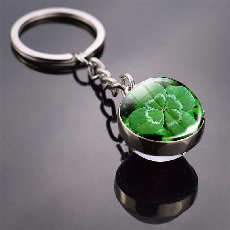 Clover Keychain Four Leaf Clover Glass Ball Key Chain Double Side Cabochon Glass Pendant Metal Keyring Clover Lucky Jewelry Gift