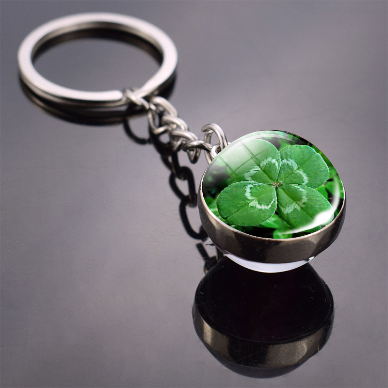 Clover Keychain Four Leaf Clover Glass Ball Double Side Pendant Metal Keyring Lucky Jewelry Gift for Men Dropshipping(China)