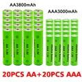 AA + AAA перезаряжаемая щелочная батарея AA 1,5 в 3800 мАч/1,5 в AAA 3000 мАч, фонарик, игрушки, часы, mp3-плеер, замена никель-металлогидридной батареи