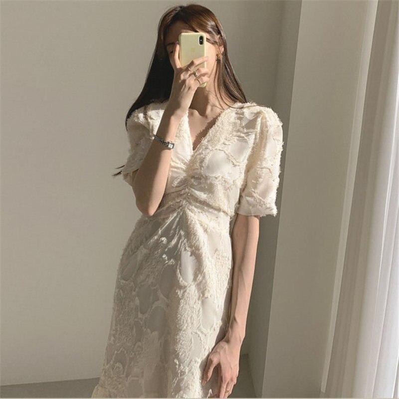 Стильное элегантное Утягивающее длинное платье с v-образным вырезом и коротким рукавом, модель 2020 года
