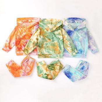 2 uds. Conjunto de ropa de niña para otoño de manga larga con impresión de abrigos con capucha + Pantalones conjuntos de ropa de algodón para niña recién nacida 0-2 años