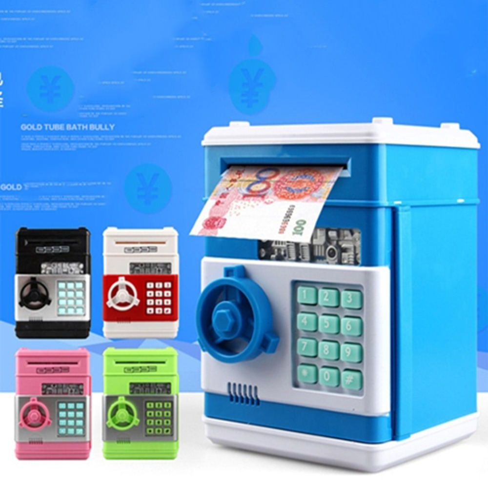 Electronic Piggy Bank ATM Mini Money Box Safety Cartoon Password Chewing Coin Cash Deposit Machine Gift For Children Kids