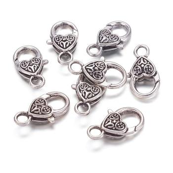 100 piezas 25,5*14mm estilo tibetano corazón langosta garra cierres bronce antiguo DIY joyería hacer artesanía suministros Accesorios