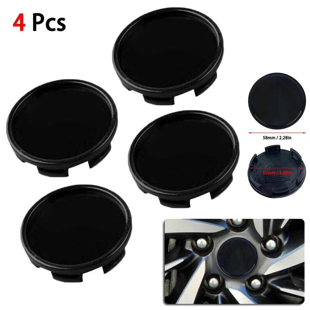 4pcs 58mm 53mm Car Wheel Center Hub Cap Decorative Cover  Black ABS Kit Sticker Badge Covers Car Styling Accessories