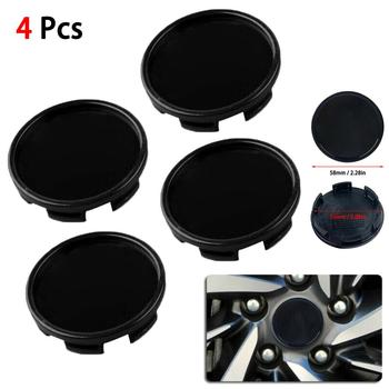 4pcs 58mm 53mm Car Wheel Center Hub Cap Decorative Cover Black ABS Kit Sticker Badge Covers Car Styling Accessories image
