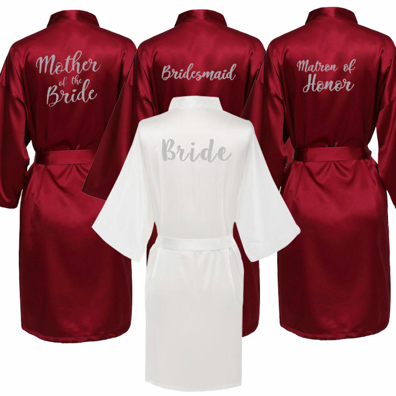 Satin Kimono Robe New Arrival Dressing Gowns For Women Print Bridesmaid Robes Sexy Sleepwear Nightdress Nightie Plus Size