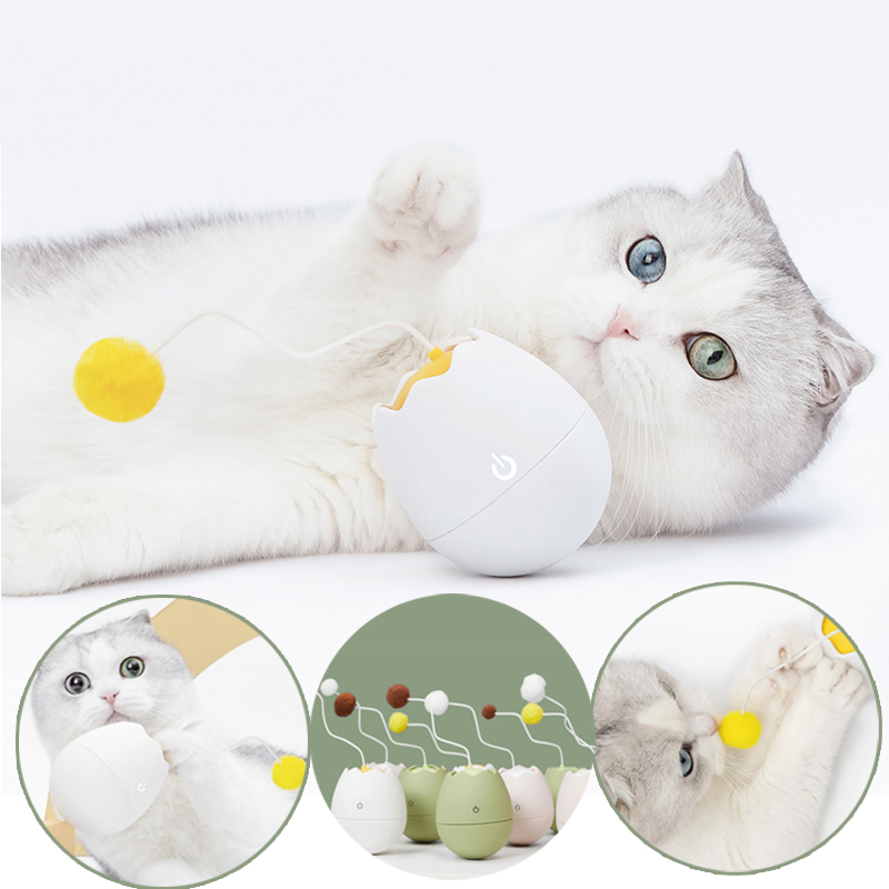 Electronic Motion Toy Interactive Cat Teaser Eggshell Shape Pets Toy Rotating Interactive Puzzle Pet FURRYTAIL Smart Control