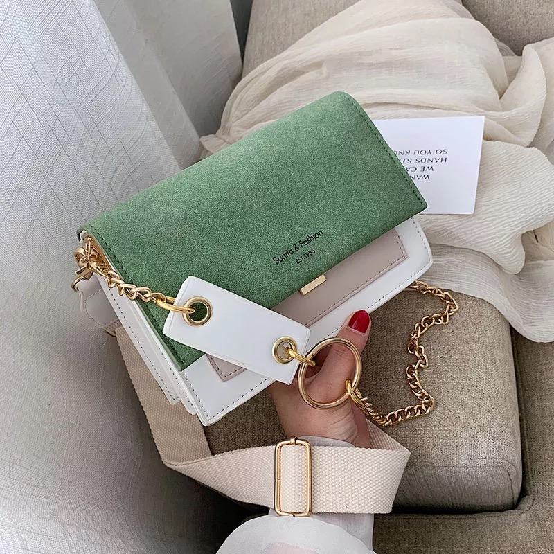 Scrub Leather Contrast Color Crossbody Bags For Women 2019 Chain Messenger Shoulder Bag Ladies Purses And Handbags Cross Body
