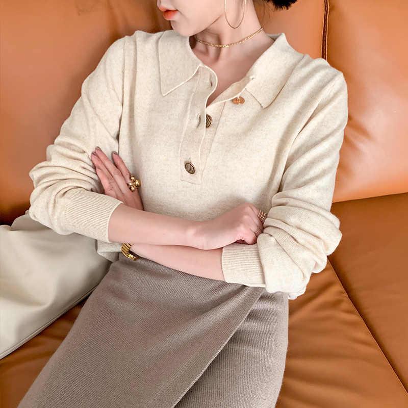 Mới Thu Áo Sơ Mi Nữ Cổ Cashmere Áo Len Nữ Áo Len Đoạn Ngắn Đáy Màu Áo Len Đan Áo Thun