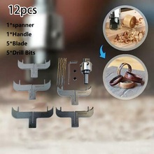 12pcs(1pc Spanner,1 Pc Handle,5 Pcs Blade,5 Pcs Drill Bits)Wood Cutter Bracelet Milling Cutter Router Bit  Woodworking Beads Dri