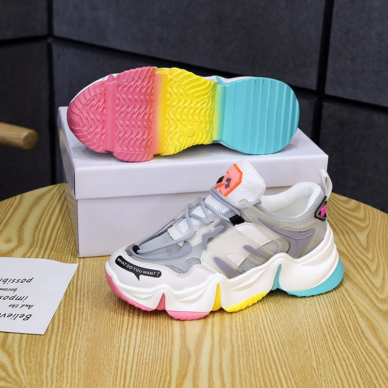 2020 Hot Summer Women Sneakers Vulcanize Breathable Rainbow Color Fashion Casuals Height Increasing Female Chunky Ladies Shoe 6
