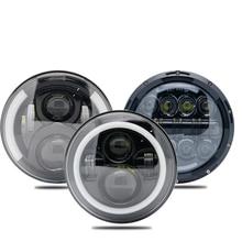 2X 7 אינץ LED פנסים עם לבן Halo טבעת עיני מלאך + אמבר הפעל אות Halo עבור ג יפ רנגלר JK לאדה ניבה 4x4 סוזוקי סמוראי