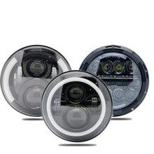 화이트 헤일로 링이 장착 된 2X 7 인치 LED 헤드 라이트 엔젤 아이즈 + 앰버 턴 시그널 지프 랭글러 용 헤일로 JK lada niva 4x4 스즈키 사무라이