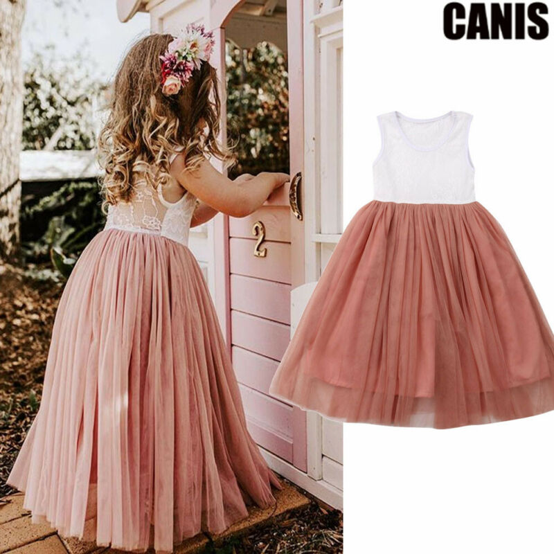 2019 New Toddler Kid Baby Girl Dresses Princess Pageant Party Lace Tutu Dress Sundress