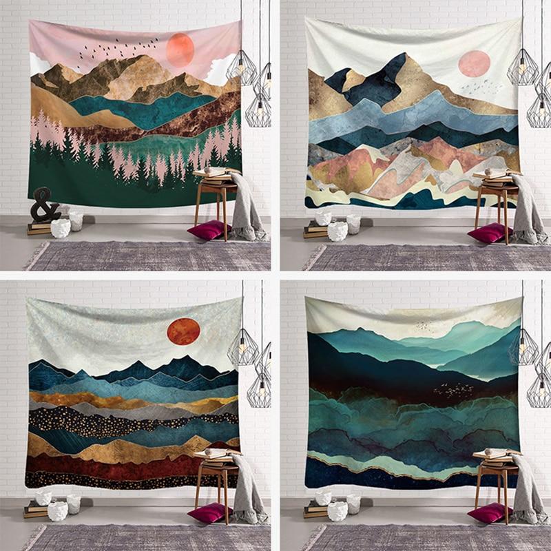 Wall Hanging Mandala Tapestry 230*180cm Traveling Camping Sunrise Oil Painting Pattern Boho Tapestry Yoga Pad Sleeping Tapestry