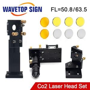 Conjunto Cabeça Do Laser Da Lente CO2 Dia.20 FL50.8mm 63.5 milímetros Integrativa Monte Dia.25 Espelho para Co2 Gravação A Laser e Máquina De Corte