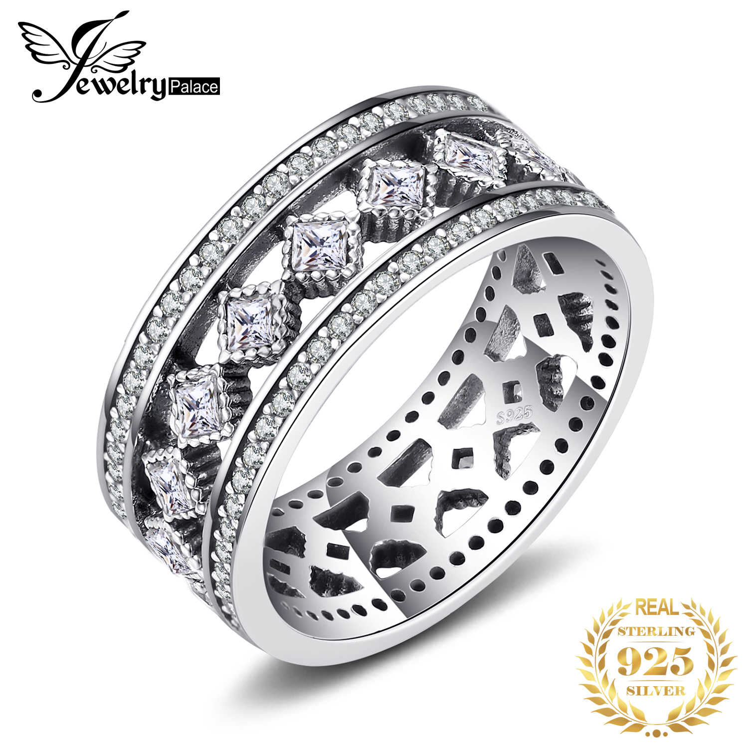 Jewelrypalace 925 Sterling Silver Vintage enchantment Hollow-out Cocktail Ring Round Fashion Jewelry Steel Rings For Woman/Girls
