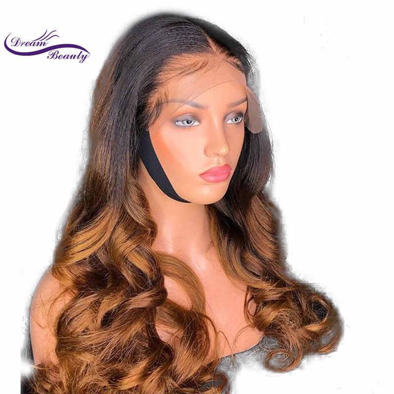Dream Beauty 13x6 parte profunda pelucas frontales de encaje Remy pelo brasileño onda del cuerpo cabello humano Ombre pelucas de Color nudos blanqueados