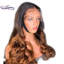 Dream Beauty 13x6 partie profonde dentelle avant perruques Remy cheveux brésiliens vague de corps cheveux humains Ombre couleur perruques blanchies noeuds