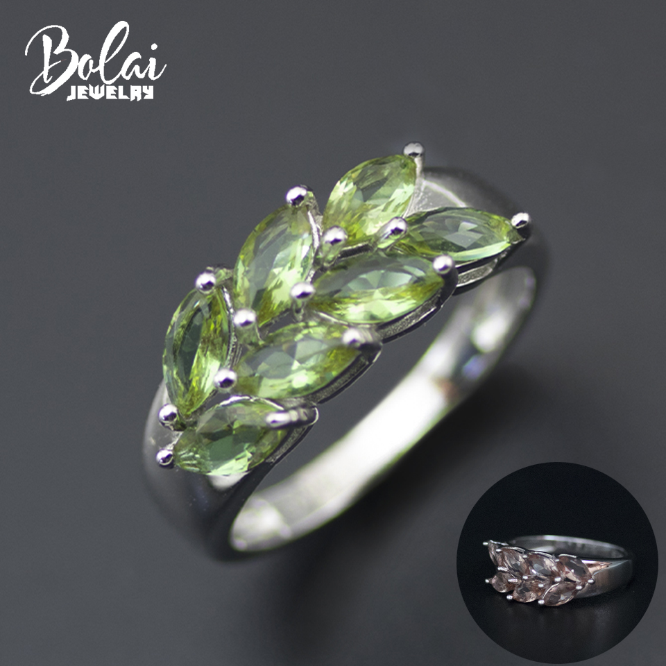Bolai Nano Diaspore Leaf Ring 925 Sterling Silver Color Change Sultanit Created Gemstone Fine Jewelry For Women Wedding Rings