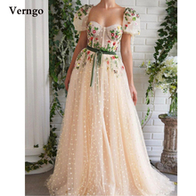 Verngo 2021 Cream Polka Dots Tulle Long Prom Dresses Short Puff Sleeves Flowers Crystal Evening Gowns Velour Sash Formal Dress